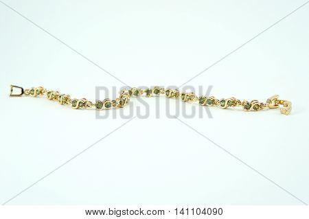 Bracelet jewelry on white background ,Bracelet green sapphire