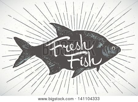 Fish label, silhouette of a fish with the inscription. Vector illustration painted by hand.