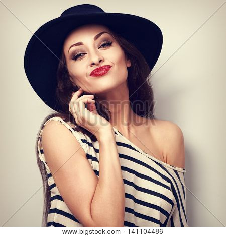 Fun Grimacing Young Woman In Hat With Red Lipstick. Toned Vintage Bright Portrait