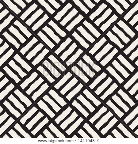Vector Seamless Black And White Hand Drawn Pavement Diagonal Lines Pattern