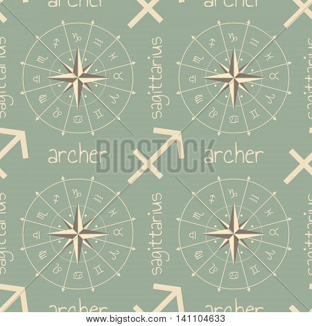 Astrology sign Archer. Seamless background. Vector illustration