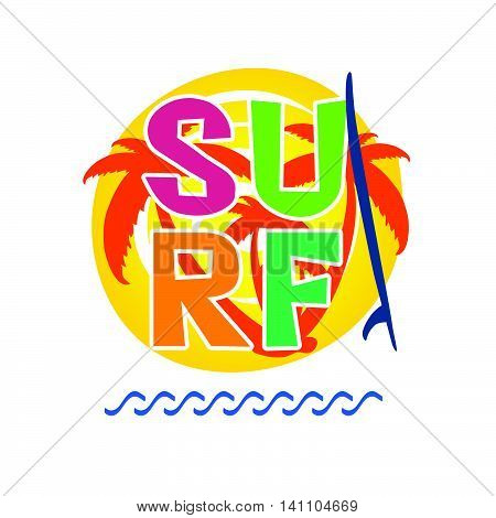 Surf Icon With Surfboard Illustration In Colorful