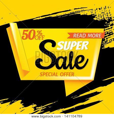 Super Sale Poster, With Gradient Mesh, Vector Illustration