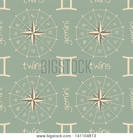Astrology sign Twins. Seamless background. Vector illustration
