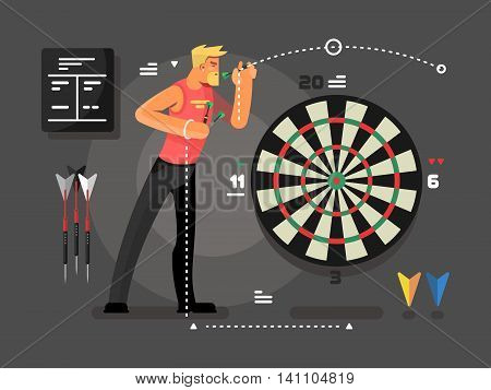 Man playing darts. Sport and target, dartboard and aim goal vector illustration