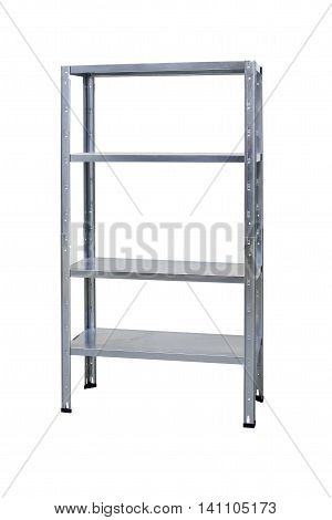 Empty metal storage shelf or rack isolated on white