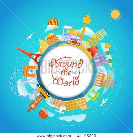 Famous signts around the world. Travel concept vector illustration. Around the world