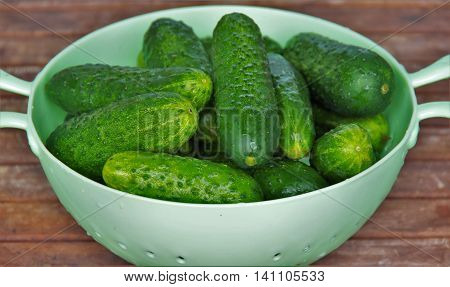 cucumbers in a plastic colander on a wooden table
