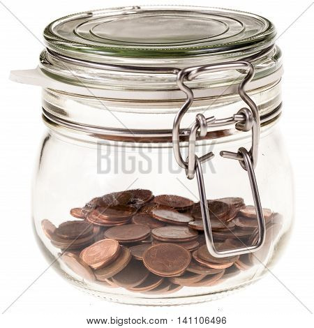 Jar With Coins Isolated