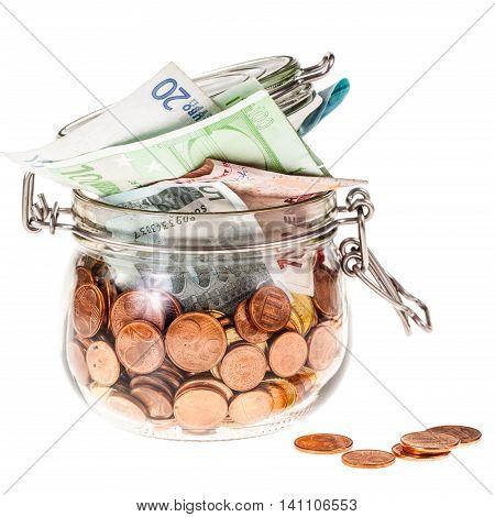 Jar With Euros On White
