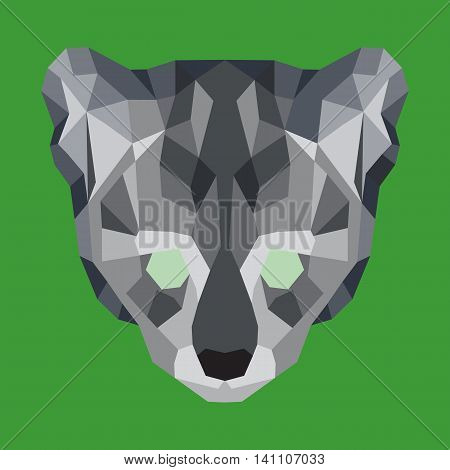 Gray low poly ocelot. Geometric simple art