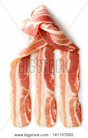 Three Strips Of Streaky Uncooked Bacon Partially Wrapped Isolated On White From Above.