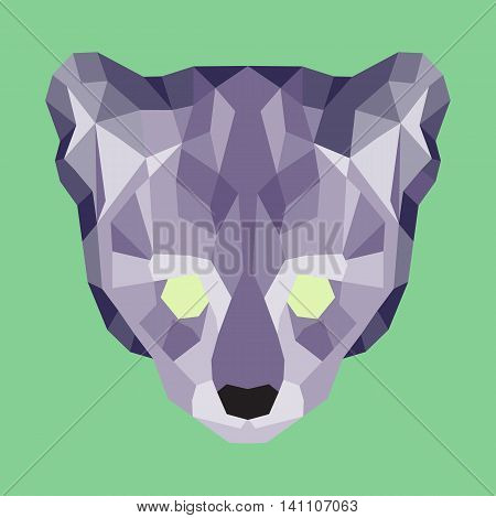 Violet low poly ocelot. Geometric simple art