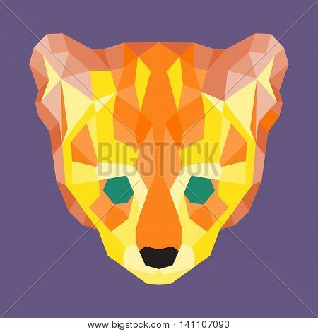 Orange and yellow low poly ocelot. Geometric simple art