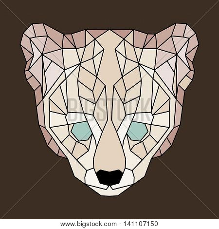Beige lined low poly ocelot. Geometric simple art