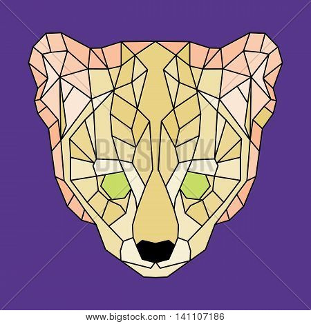 Yellow lined low poly ocelot. Geometric simple art