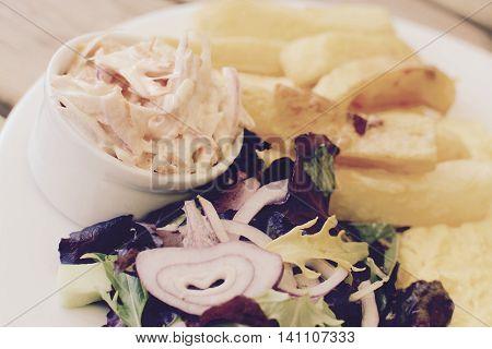Omelette, chips and side salad - vintage filter applied