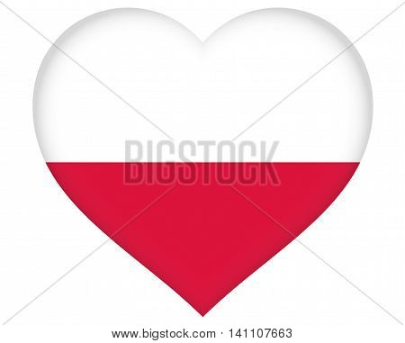 Illustration of the flag of Poland shaped like a heart