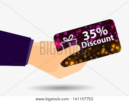 Coupon For A 35-percent Discount In The Hand. Gift Card With Bright Sparks. Vector Illustration.