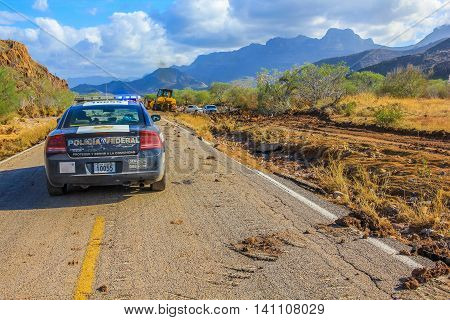 Nopolo, Baja, Baja California Sur, Mexico - August 26, 2013: Mexican police car in Loreto and Santa Rosalia area. Tropical Storm Juliette
