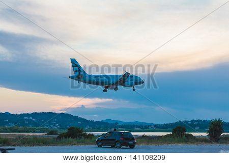 Corfu Airport, Greece - June 30, 2011: Airbus A319 Of Aegean At The Airport Corfu