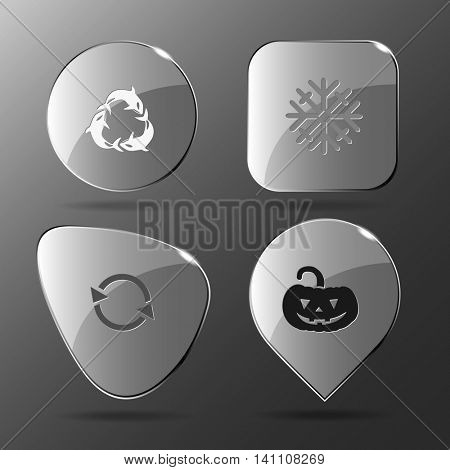 4 images: killer whale as recycling symbol, snowflake, pumpkin. Nature set. Glass buttons. Vector illustration icon.