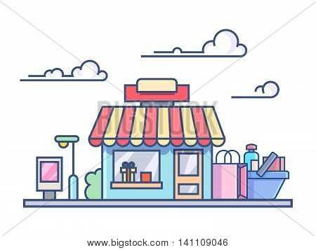 Shop building with filled cart. Retail commerce. Line vector illustration.