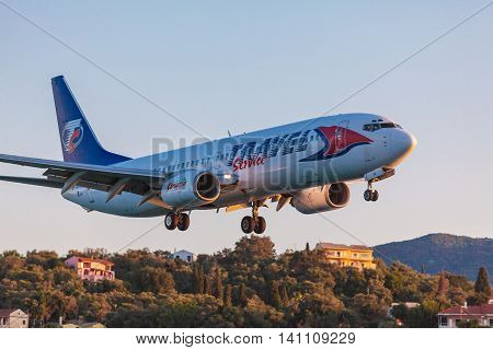 Corfu Airport, Greece - July 3, 2011: Boeing 737 Of Travel Service At The Airport Corfu