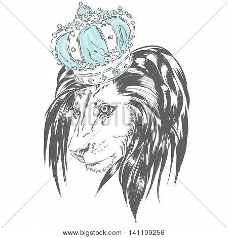 Beautiful lion wearing a crown. Vector illustration for greeting card, poster, or print on clothes.