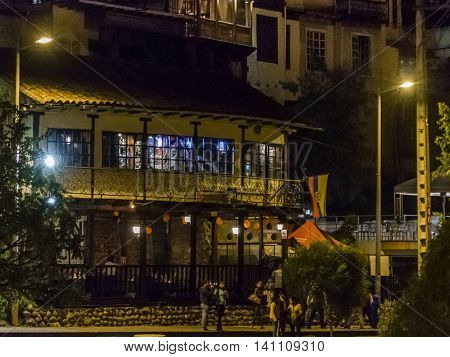 CUENCA, ECUADOR, NOVEMBER - 2015 - People at traditional street at the historic center of Cuenca in Ecuador.