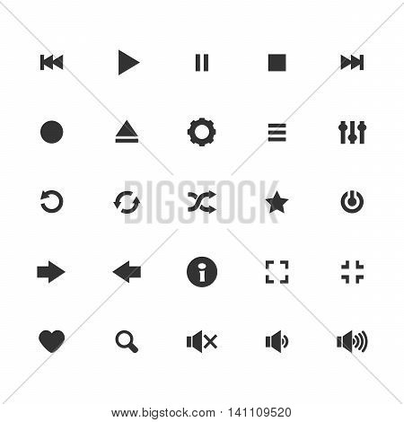 Audio icons vector set. Vector media player icons set. Isolated on white background black icons. 25 multimedia icons.