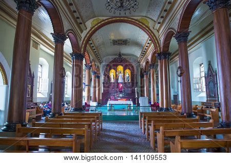 SUCHITOTO EL SALVADOR - MAY 07 : The Santa Lucia church interior in Suchitoto El Salvador on May 07 2016. It took 9 years to build the church and it was finally completed in 1853