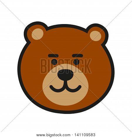 Brown Bear Icon Or Logo. Vector Illustration. Cartoon grizzly bear head