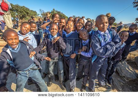 Blyde River Canyon Nature Reserve, South Africa - August 22, 2014: South African kids posing in school uniform.