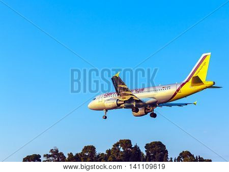 Corfu Airport, Greece - July 9, 2011: Airbus A319 Of Germanwings At The Airport Corfu