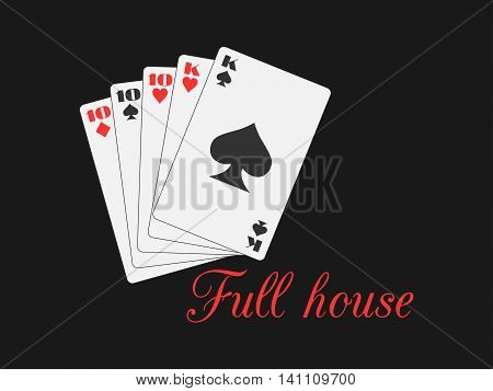 Full House Playing Cards, Hearts And Spades Suit. Poker Hand. Vector Illustration.