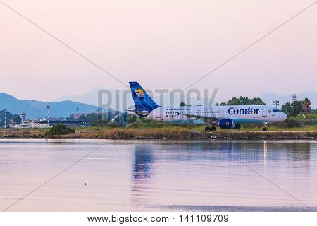 Corfu Airport, Greece - July 9, 2011: Airbus A320 Of Condor At The Airport Corfu