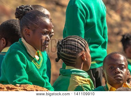 Blyde River Canyon Nature Reserve, South Africa - August 22, 2014: South African girls posing in school uniform.
