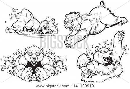 Black and White Vector cartoon clip art illustration set of bears swimming and diving with goggles on. Can be colored to look like any type of bear.