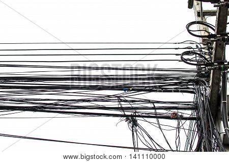 Electricity cable telephone wire and fiber optic wire of internet in Thailand