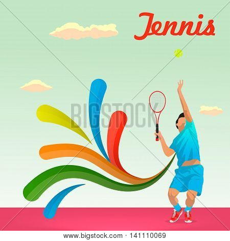 Young Tennis player serves the ball