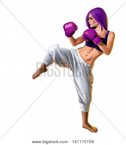 Female kick boxer on a transparent background