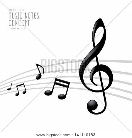 Graphics Icon Symbol Of Music Notes And Treble Clef On White Background Vector.