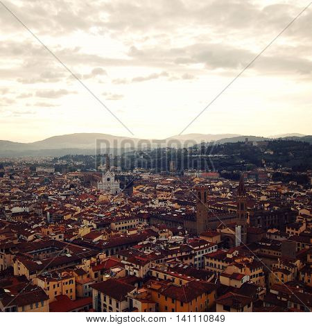 City Roofs From Campanile Of Florence Cathedral.