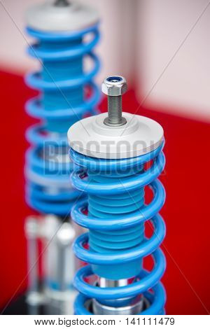 close up on Group of automobile sports shock absorbers