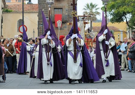 LA LAGUNA, TENERIFE, SPAIN - APR 02:Unidentified people in Biblical enactment of the passion during in the Good Friday procession on April 02, 2010 in the village of La Laguna in Tenerife, Spain