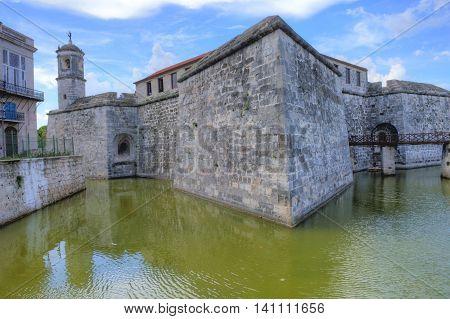 HAVANA CUBA - JULY 18 : The Morro castle in Havana Cuba on July 18 2016. The castle was built by the Spaniards in the years 1589 to 1630