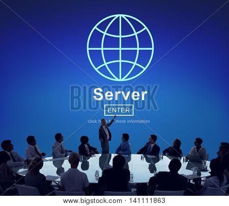 Server Global Data Information Homepage Concept