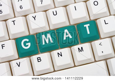 Studying for your GMAT online A close-up of a keyboard with teal highlighted text GMAT, 3D Illustration