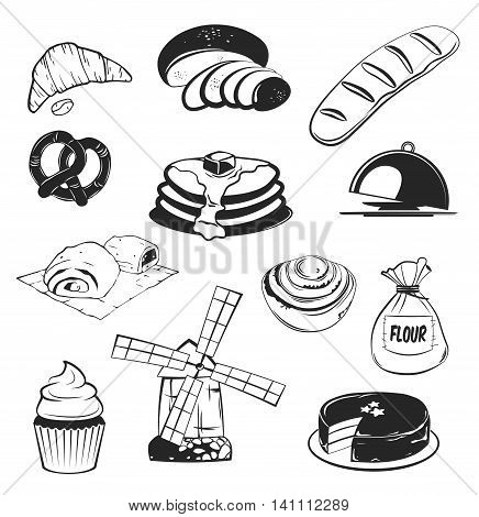 Bakery set: Bread slice, wheat, bun, cake with cherry, biscuit, donut, baguette, flour sack, pretzel, croissant, wind mill pastry and rolling-pin platter cupcake cake Vector illustration